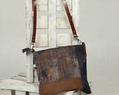Denim cross body bag, brown shoulder bag, medium, combined bag, brown suede, casual bag, cowboy messenger, original bag,denim messenger