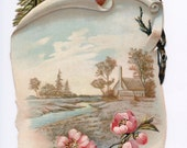 Antique Greeting Card ROBINS on Scroll withCHERRY Blossoms and FARM scene -  Instant Digital download