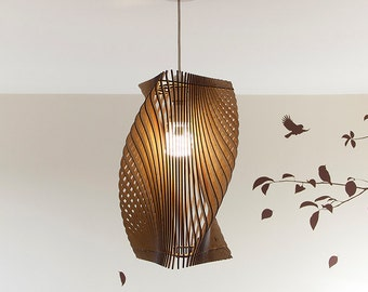 Twisted Lasercut Wooden Lampshade No.2 - Medium