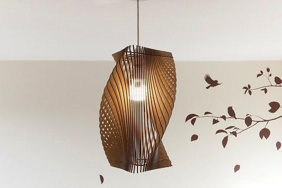 Twisted Lasercut Wooden Lampshade No 2 Medium