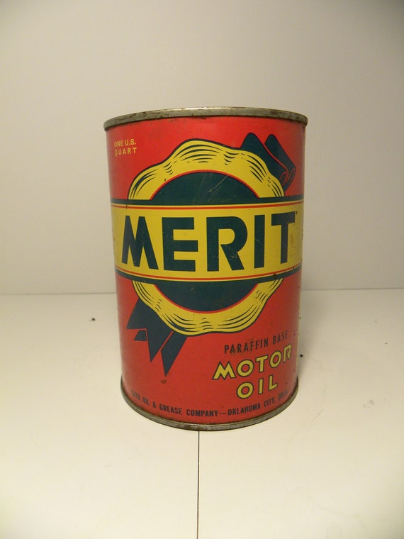Vintage merit motor oil can 1 quart automotivehot rodusa for Quart of motor oil