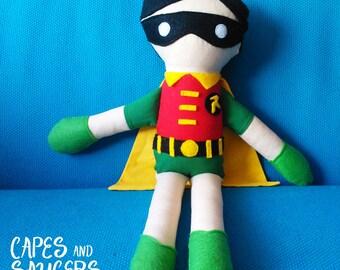 Soft, Stuffed, Robin Ragdoll - Super Hero, Plush, Toy, Rag, Doll, Robin, Comic, Boy Wonder