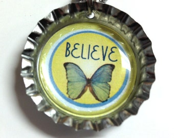 Believe with Butterfly - Dreamer Collection - Bottlecap Necklace