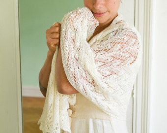 ivory bridal wrap in merino and silk, beaded, handknit