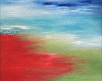 ORIGINAL CONTEMPORARY ART Abstract Landscape Painting Textured Canvas Art Acrylic Seascape Painting Fine Art Decor 24x24x1,5 60cmx60cmx3,6cm