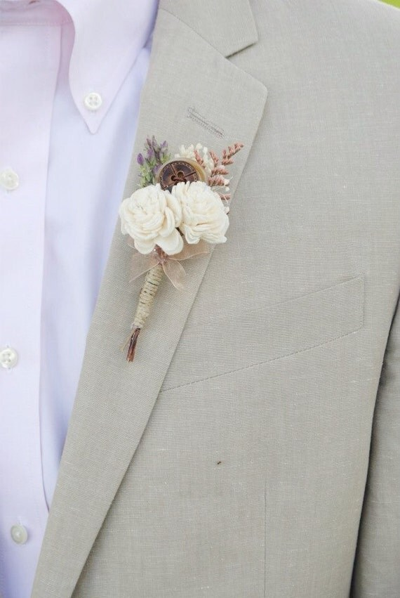 Rustic Boutonniere- Groom and groomsmen boutonniere, Sola Flower, Button, Wedding Flowers