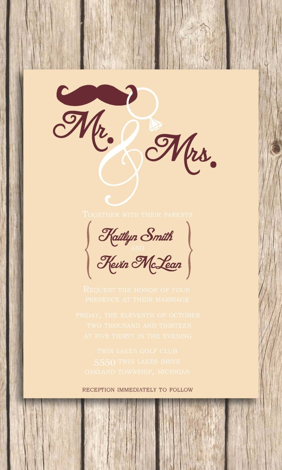 Mr And Mrs Wedding Invitation DIY Printable By WiseLiLOwlDesigns