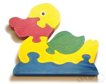 Wooden Puzzle Duck, Wooden toys. Wooden Animal Puzzle M214