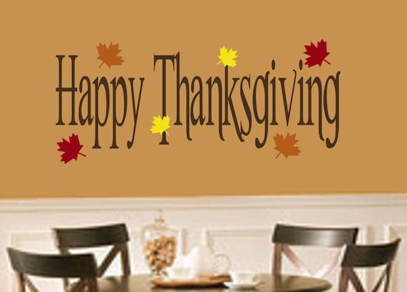 Thanksgiving decor happy thanksgiving with leaves vinyl wall Happy thanksgiving decorations