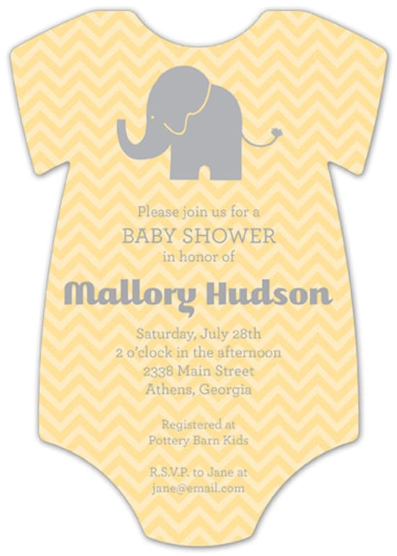 animal onesie baby shower invitation sold in sets of 10