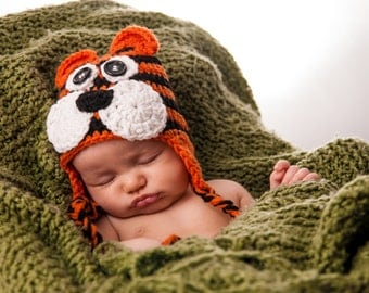 Baby Tiger Hat - Crochet Tiger Hat - Cheeky Tiger Crochet Hat - Baby Tiger Hat - Newborn Tiger Hat - Tiger Hat for Babies - Crochet Tiger