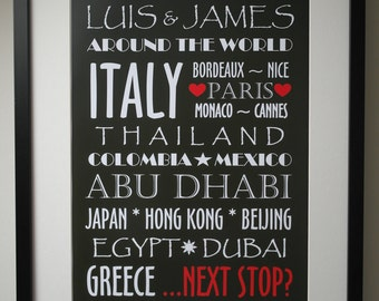 Printable Destinations Poster - Personalised