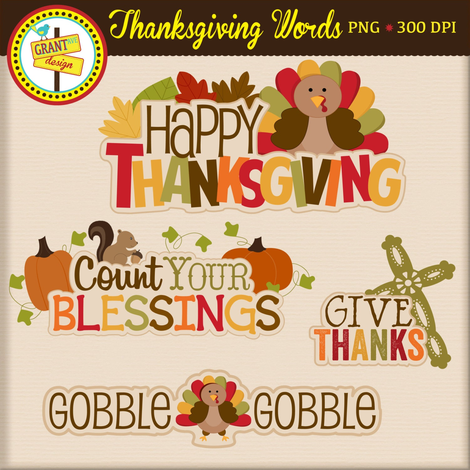 Thanksgiving Words Thanksgiving Word Art Cute Digital – Thanks Card Words