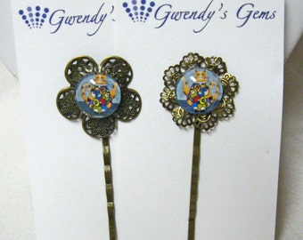 Teapot kitty bobby pin set - CBP05