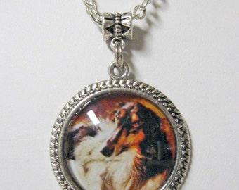 Borzoi portrait pendant with chain - DAP05-065