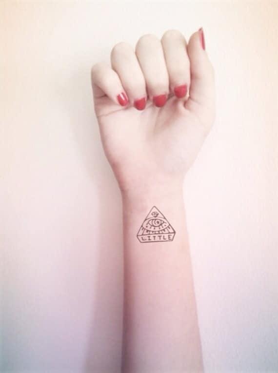2pcs petit oeil triangle inknart tatouage temporaire par. Black Bedroom Furniture Sets. Home Design Ideas