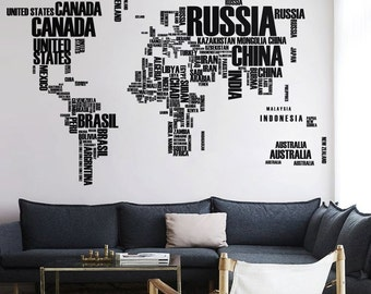 World map wall decal with Country names Removable  Vinyl map wall decal Vinyl Sticker - WM008