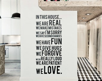 In this house - Vinyl wall Quote sticker - Home wall decor - Q001