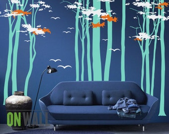 Large  Vinyl  Wall Tree Mural, Set of Birch tree wall vinyl stickers and migratory birds - MM009