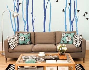 Flock Of Birds Large Wall Decals Winter Scene Tall Birch Trees Peel And  Stick Vinyl Stickers Part 83