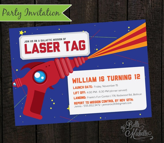 Items similar to Boys Laser Tag Birthday Party Invitation JPG – Laser Tag Party Invitations