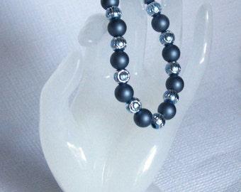Handmade blue shell pearl bracelet