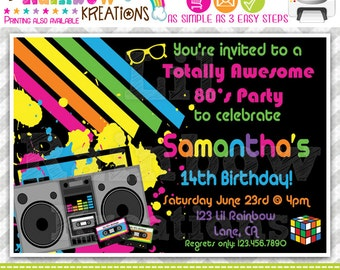 389: DIY - Totally Awesome 80's Party Invitation Or Thank You Card