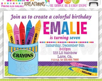 580: DIY - Colorful Crayons Party Invitation Or Thank You Card