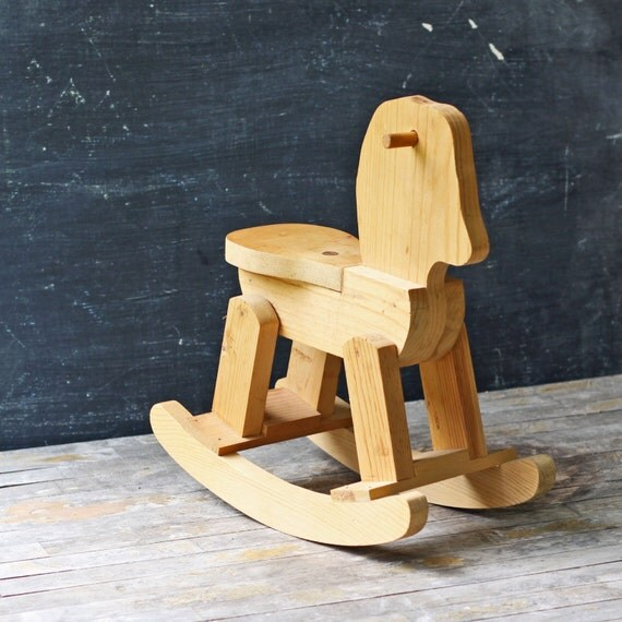 Vintage Handmade Wooden Rocking Horse Child's Toy