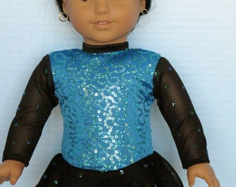 Sparkly Turquoise and Black Ice Skating Dress for American Girl Size Dolls
