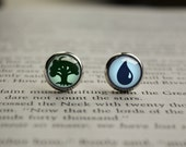 Handmade Magic inspired glass cabochon dome Earring Ear Studs (all colors availible)