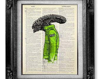 Alien Movie Poster Art Print, Fan Art, Geekery Anatomy Art, Retro Anatomy Print, Anatomy Poster, Fantasy Old Book Art, Xenomorph in Suit