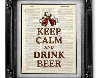 Man Cave Decor, BAR Art, British Decor, Man Gag Gift, BEER Art, BREW Wall Art, Beer Print, Pub Sign Cool Stuff - Keep Calm Drink Beer Poster