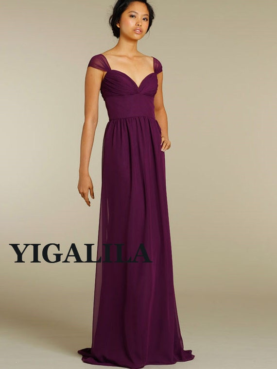 Lady dress/bridesmaid dress/wedding dress/straps/sweetheart neckline/empire waist/Chiffon Prom Dresses/full-length/plum