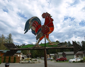 Stained Glass Rooster. Weather Vane