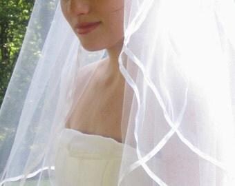 3 Tier Satin Edge Wedding Veil Elbow Length