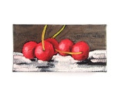 Gift Under 25, Kitchen Decor, Cherry Painting Magnet, Original Mini Oil Painting, Chef Gift