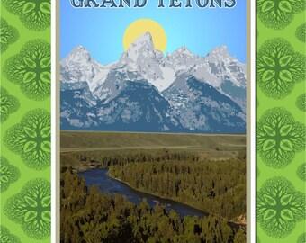 Grand Teton National Park Travel Poster Wall Decor (7 print sizes available)