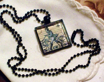 Victorian Steampunk Cyclist Necklace - Black Pendant Setting and Ball Chain - 25mm Square Glass Cabochon