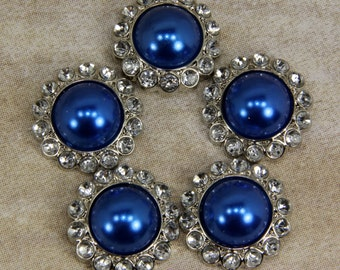 """5 Blue Pearl Rhinestone Buttons- 5 Sapphire 21mm """"Blue"""" Buttons With Brilliant Clear Surrounding Rhinestones 21mm - Navy Blue buttons"""