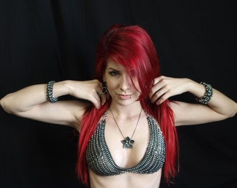 Chainmaille Bra - Stretchy Adjustable Bra Made of Stainless Steel and Rubber Rings