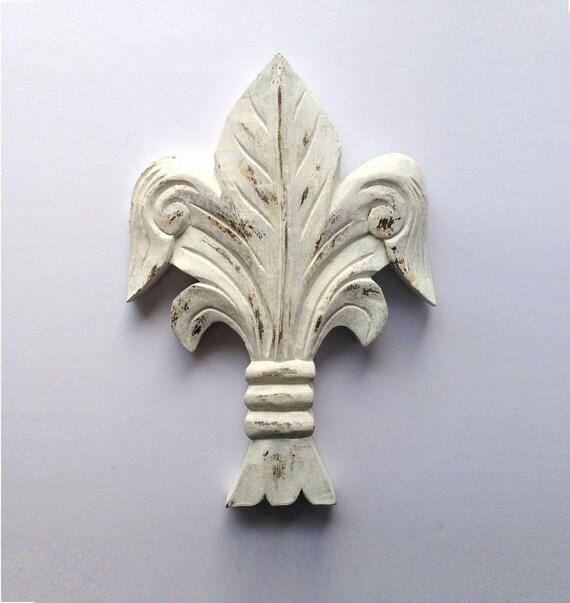 Vintage Fleur-De-Lis Wall Décor Wood Carving 1970s