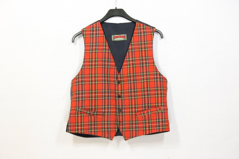 red plaid vest mens formal steampunk waistcoat. Black Bedroom Furniture Sets. Home Design Ideas