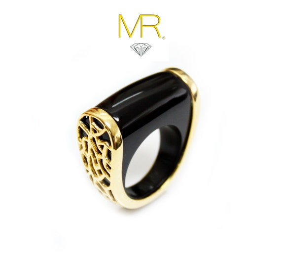 DESIGN ASYMMETRIC HONEYCOMB Black Agate Gold Ring