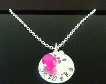 Hand stamped Girl  necklace with birthstone Personalized jewelry Custom necklace