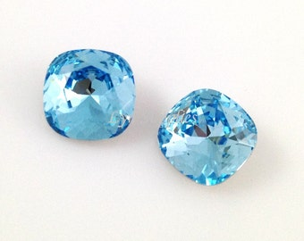 Swarovski Crystal 4470 AQUAMARINE 10mm Cushion Cut Fancy Stone 2pcs or 8pcs
