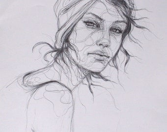 Line Drawing of Woman; Professionally Printed Giclee Print of Original Ink Drawing Woman Portrait