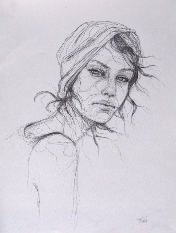 Line Drawing Woman : Items similar to line drawing of woman professionally