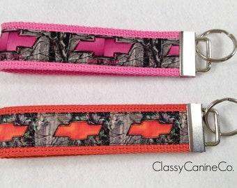 Pink Chevy Girl or Orange Chevy Key Fob Wristlet Key Chain
