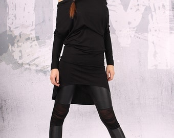 Black top/ extravagant tunic/ asymmetrical tunic dress, plus size tunic, oversize dress, long sleeved dress,  - UM-CL006-VL